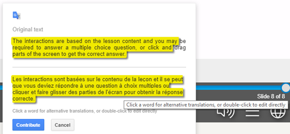 Inputting a webcast translation suggestion
